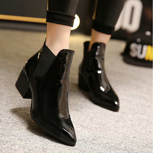 shoes shanghaitrends ankle boots patent shoes patent boots leather boots ss16 black black boots pointed boots