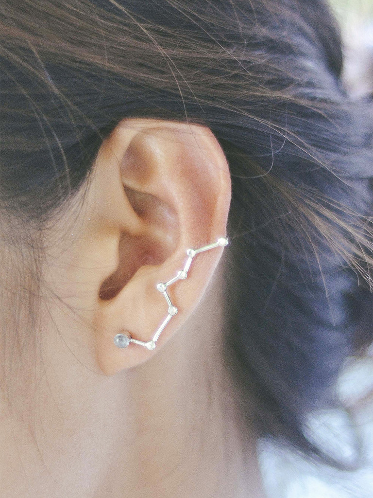When stars align constellation ear pins moonstone