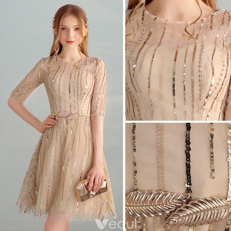 d62afa9737c Chic   Beautiful Gold Homecoming Graduation Dresses 2018 A-Line ...