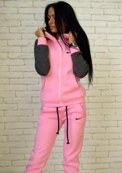 jacket nike hoodie sweater hood hoodie coat tracksuit pants sweatpants jumpsuit pink grey zip sweatsuit bottoms