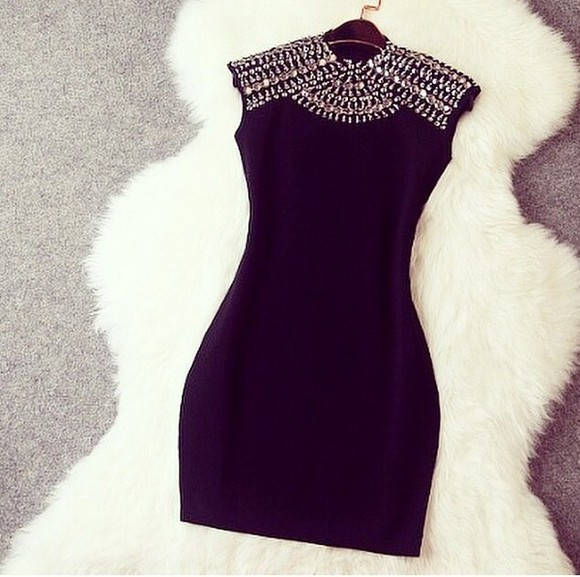 diamonds black dress blackdress perfect rinestones details