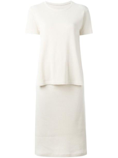 Mm6 Maison Margiela dress knit women spandex layered nude cotton