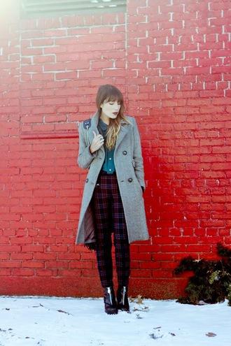the marcy stop blogger blouse pants grey coat tartan