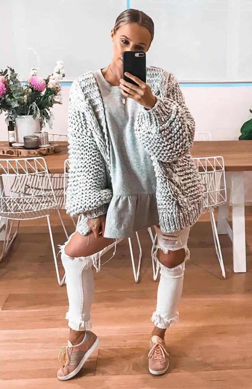 Cool Change Knit Cardigan Grey Marle