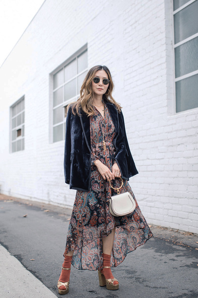 dress tumblr midi dress asymmetrical asymmetrical dress printed dress blazer velvet velvet blazer sandals socks and sandals socks bag white bag handbag sunglasses