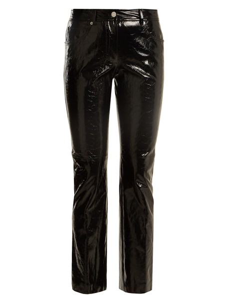 Helmut Lang flare cropped leather black pants