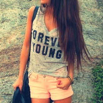 shirt forever young t-shirt shorts peach shorts with gray shirt that's says  young forever