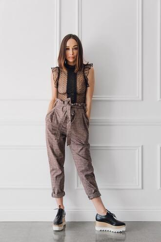 blogger pants shoes caradisclothed see through top high waisted pants platform sneakers