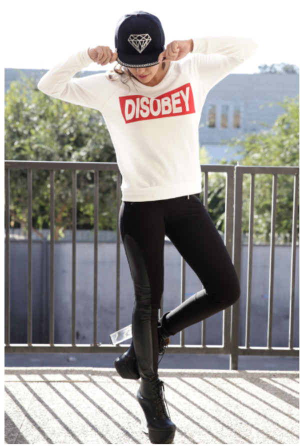 top top disobey pullover sweatshirt diamonds snapback leather leggings heels clear heels lace up boots hat hipster hip hop hip hop girl girly swag