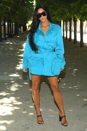 shirt,oversized,sandals,clear mules,mules,kim kardashian,kardashians,shorts,celebrity