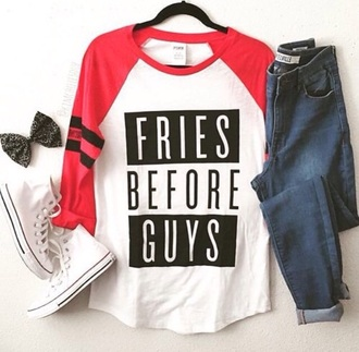 shirt shoes jeans pants top converse red white black
