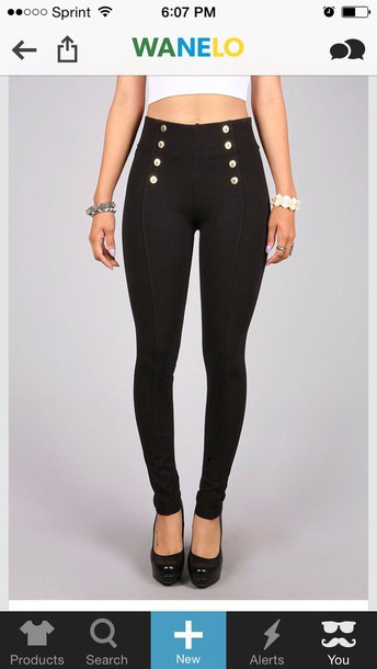 Pants: button, black, high waisted jeans, cute - Wheretoget
