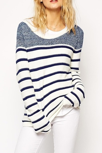 top stripes long sleeves white navy cool long sleeve striped jumper casual fashion style trendy