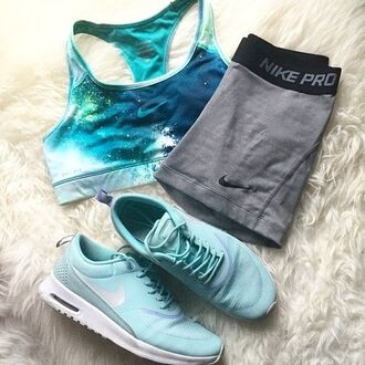 top nike nike pro fit fitness fit life athletic blue grey black sports bra sportswear galaxy print shorts tight sneakers white cute tumblr earphones shoes sports shorts