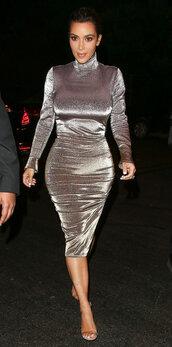 dress,silver,metallic,sandals,kim kardashian,kardashians,long sleeve dress,turtleneck,bodycon dress,midi dress