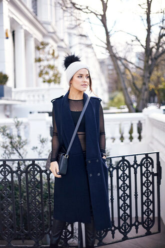 the little magpie blogger navy coat blue coat sleeveless sleeveless coat mesh top pom pom beanie
