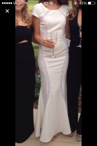 dress cream dress prom dress white lace dress graduation dress