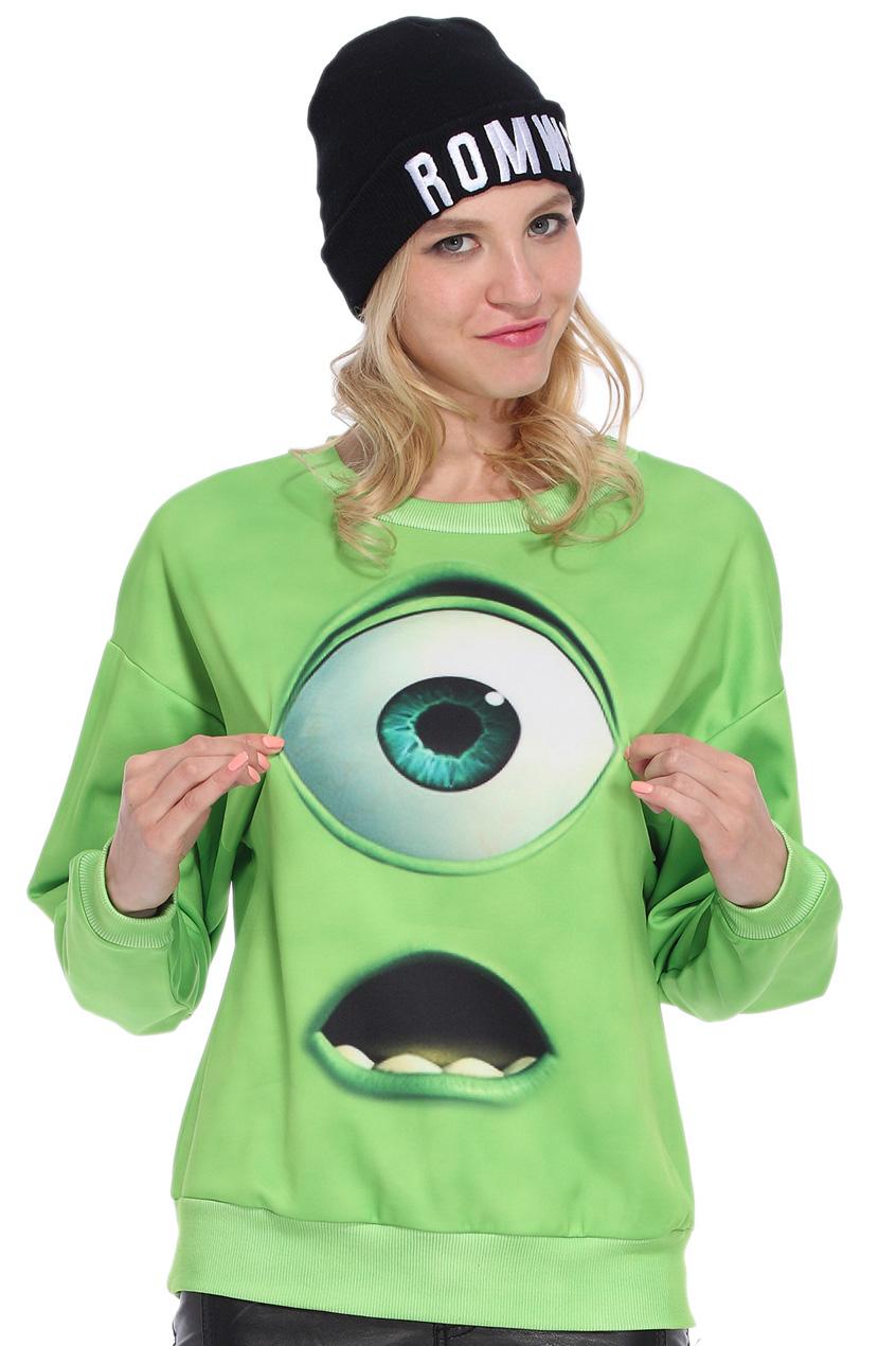 ROMWE | Green Monster Print Sweatshirt, The Latest Street Fashion