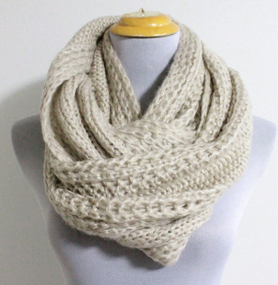 Oatmeal Chunky Knit Infinity Scarf Cozy Winter by dailyaccessoriez
