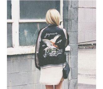 jacket birds black nice menswear women japan unisex bomber jacket