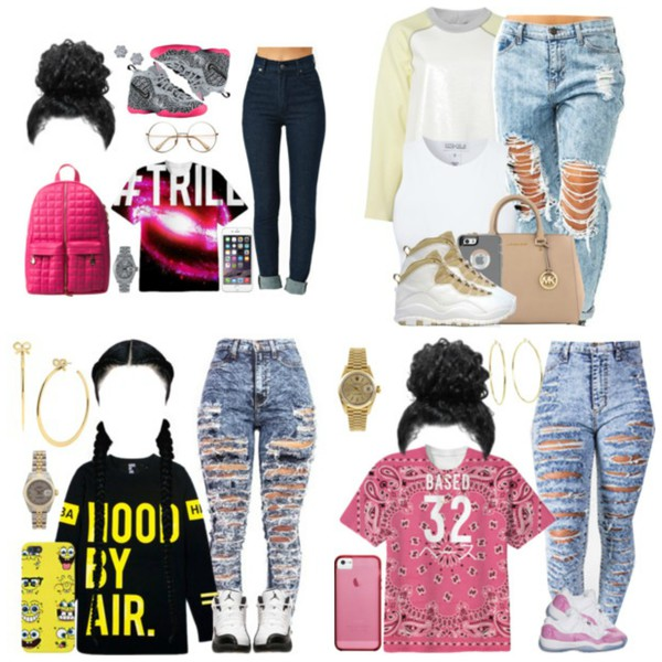 cardigan blouse jeans ripped jeans sweater bag polyvore outfit backpack nike shoes