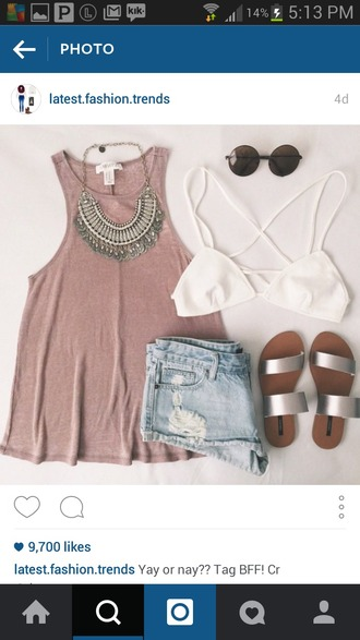 tank top statement necklace sunglasses shorts denim shorts white bandeau bandue red red top whites sandals white silver sandals silver