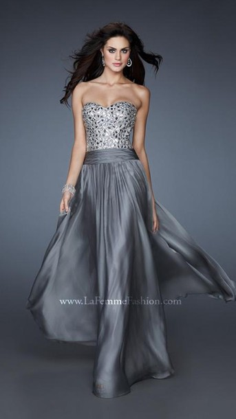 dress, prom dress, beautiful, gorgeous, icanteven, silver, bedazzled ...