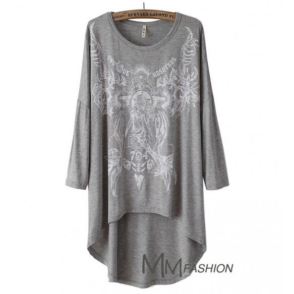 Oversized Tee With Asymmetric Hem at Style Moi
