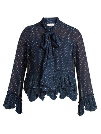 blouse floral print navy top