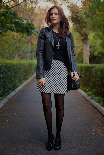 the bow-tie jacket sweater skirt shoes bag jewels