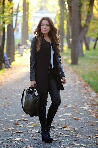 coat romwe zip black panel woolen
