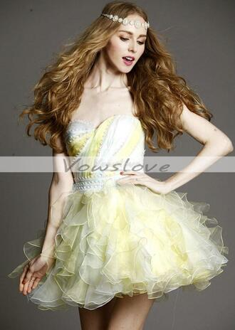 yellow dress short prom dress yellow prom dress homecoming dress ruffle dress vowslove.com