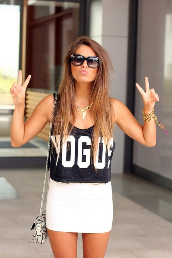 tank top vogue skirt shirt swag stylish chik street dress crop tops bag sunglasses top crop tops black and white vogue crop tops black white