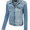 Le3no womens oversized long sleeve distressed boyfriend denim jacket with pockets