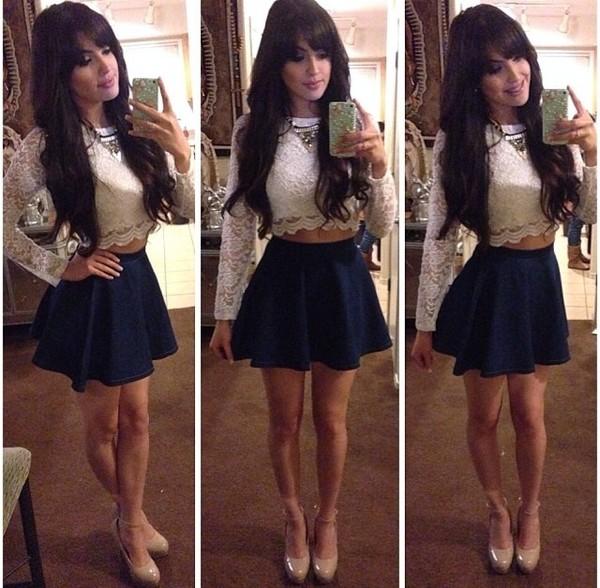 blouse beige khaki crop top shoes heels shoes heel nude tall skirt blue skirt skater girl skirt blue royal blue shirt adilene idali