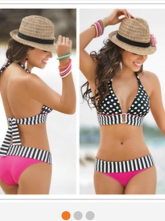 swimwear bathingsuits pink swimwear halter top bikini style black bikini hat