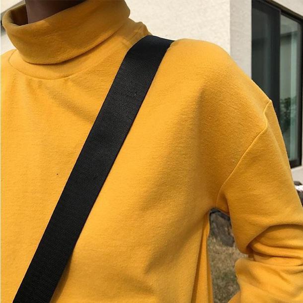 sweater girly tumblr sweatshirt yellow jumper turtleneck turtleneck sweater