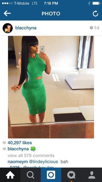 dress green dress blackchyna cotton