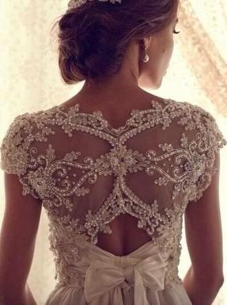 dress lace white dress white maxi dress bow elegant feminine lace back hat wedding dress belt beaded dress gorgeous