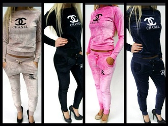 pants sweatpants chanel sweater velour sweatsuit blouse jumpsuit chanel sweater noir