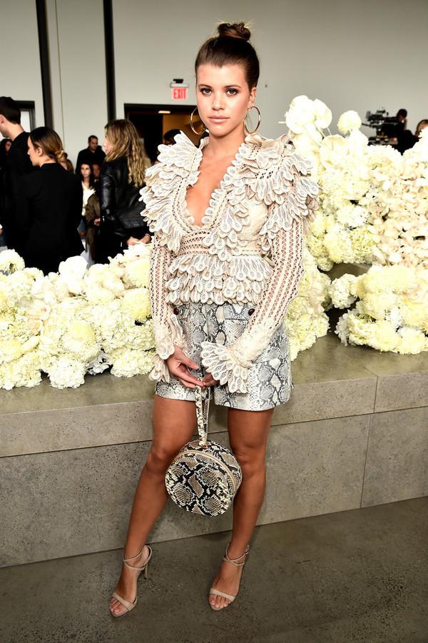 top mini skirt sofia richie sandals ruffle ruffled top fashion week celebrity python