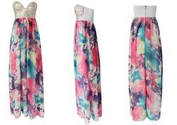 Shiping livre de venda quente da moda colorida envolvido no peito vestido de lantejoulas, vestido maxi