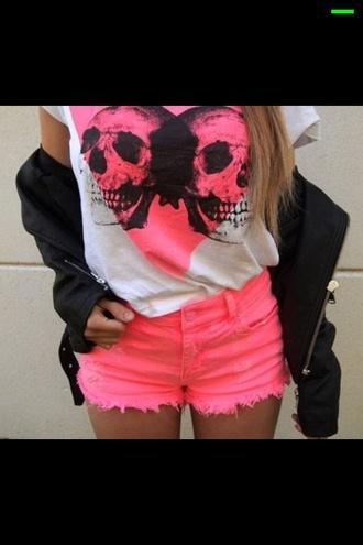 skull t-shirt heart pink