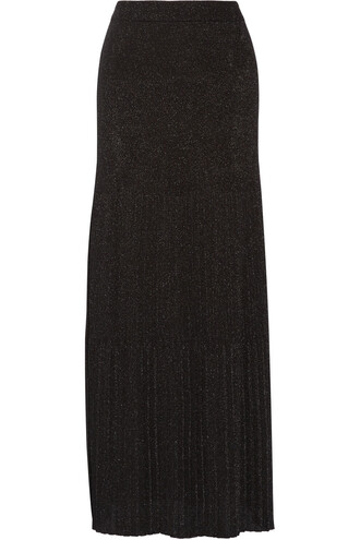 skirt maxi skirt maxi pleated knit metallic crochet black
