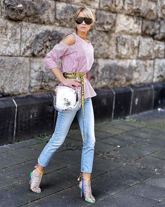 belt top pink top blue jeans bag cut-out shoulder top jeans denim sandals sandal heels