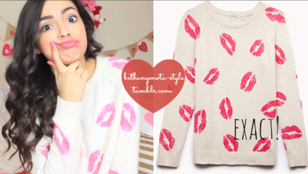 sweater bethany mota macbarbie07 heart heart juicy lips lipstick girl sweatshirt juicy couture
