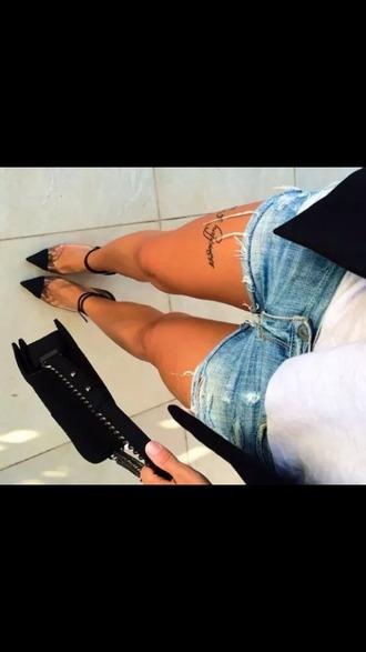 shoes high heels ankle strap heels shorts tattoo hollywood instagram @rihanna @kimkardashian @chloekardasian @elliegoulding @ritaora @playsuit @pink @lovely @pretty @gor kim kardashian rippedshorts