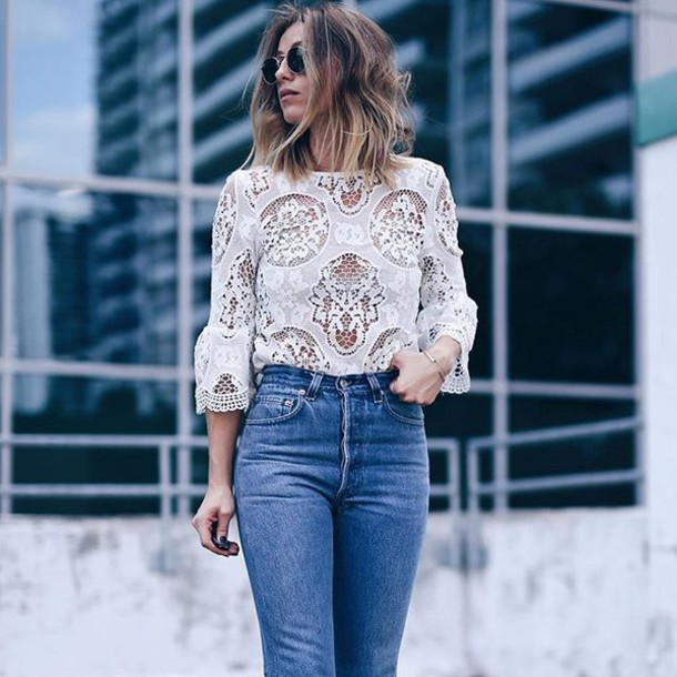 4abc9356d blouse lace top three-quarter sleeves white top white lace top bell sleeves  jeans blue