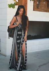 honey and silk,dress,shoes,t-shirt,pants,jewels,o neill,black and white,aztecs,aztec,cute,long,cut,maxi,clothes,slit dress,spaghetti strap,bandana print,spaghetti straps dress,long dress,thigh high slit,navy,boho,tribal pattern,aztec print skirt,boho dress,white,pattern,summer dress,bohemian dress,maxi dress,festival dress,black,summer,double slit dress,pretty,leather bag,black and white dress,double slit skirt,black leather bag,black aztec beach,black dress,cute dress,cute outfits,summer outfits,style,white dress