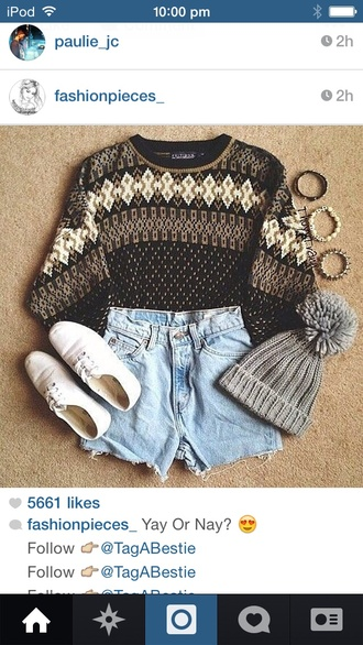 sweater pom pom beanie hat shirt cute sweater fall sweater fall outfits sweater weather indie hipster soft grunge hippie spring vintage beanie